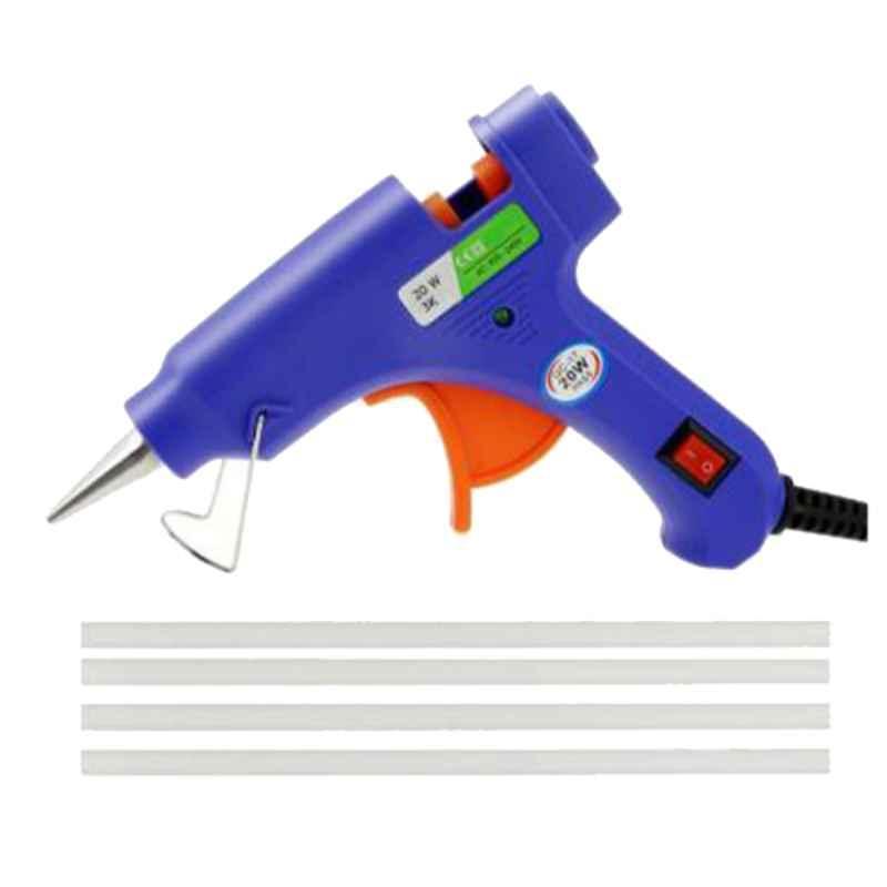 Bandook 20W Blue Glue Gun with 4 Pcs Transparent Glue Sticks