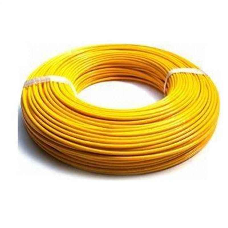 KEI 10 Sqmm Single Core FR Yellow Copper Unsheathed Flexible Cable, Length: 100 m