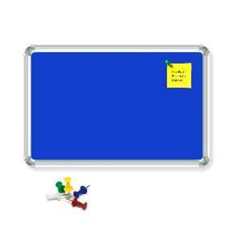 Nechams 2'x1' Fabric Notice Board Premium Series Blue FABBLU21TF