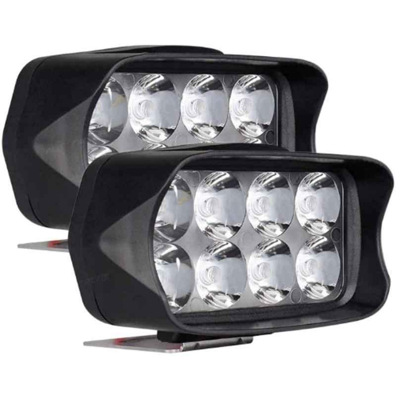 AllExtreme EXL21WW 2 Pcs 8 LED 12W White Off/On Road Driving Work Fog Light Set