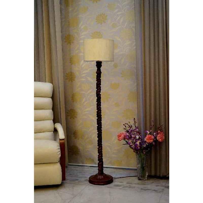 Tucasa Mango Wood Dark Brown Floor Lamp with Off White Drum Polycotton Shade, WF-122