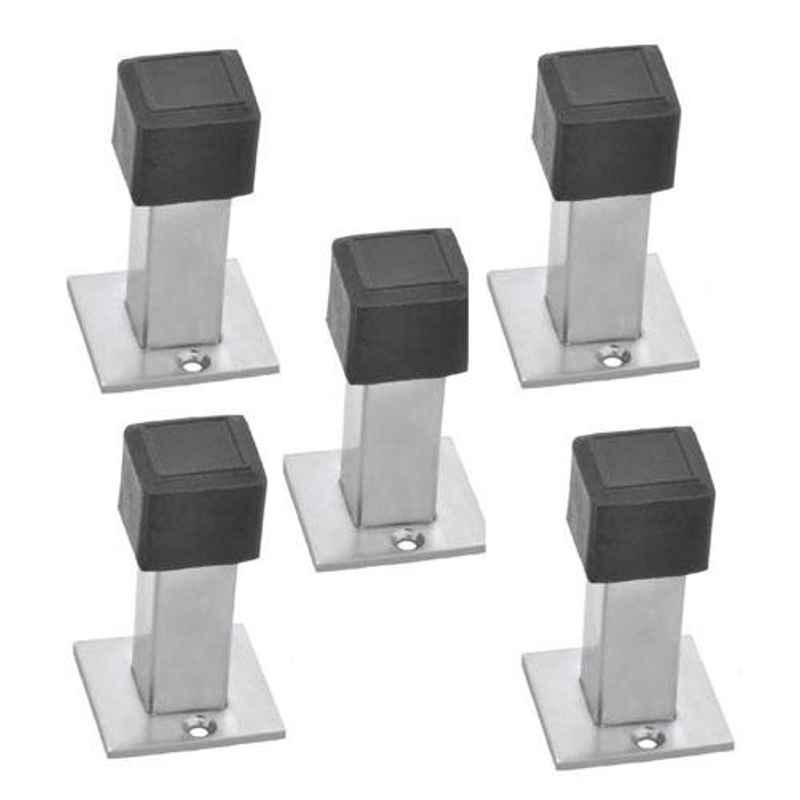Nixnine Stainless Steel Back Silencer Door Stopper with Square Rubber Pad, SS_SQR_A-617_5PS (Pack of 5)