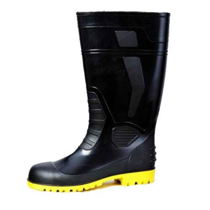 Neosafe Atlantic-15 PVC Steel Toe Black & Yellow Gumboots, Size: 10