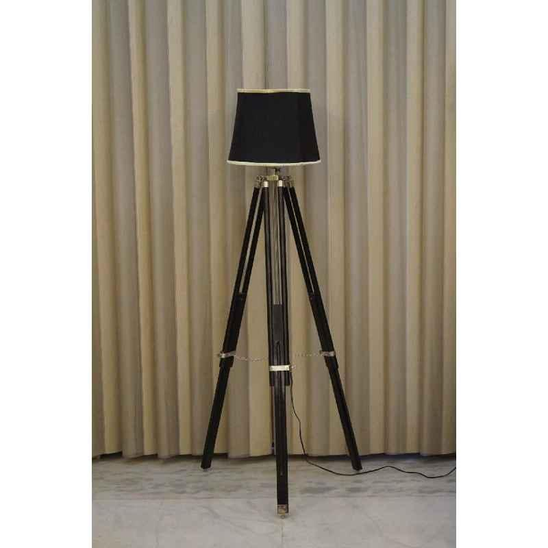 Tucasa Mango Wood Black Tripod Floor Lamp with Polycotton Black Shade, P-105