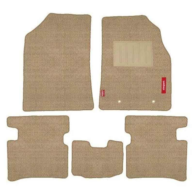 Elegant Popcorn 5 Pcs Polypropylene & Non Woven Beige 2D Car Floor Mat Set for Hyundai Grand i10