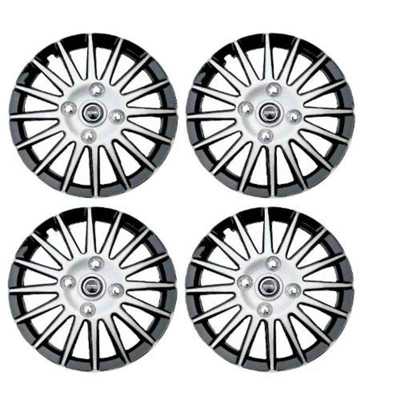 Hotwheelz 4 Pcs 15 inch Black & Silver Wheel Cover Set for Toyota Etios, HWWC_CAMRY_DC15_ETIOS