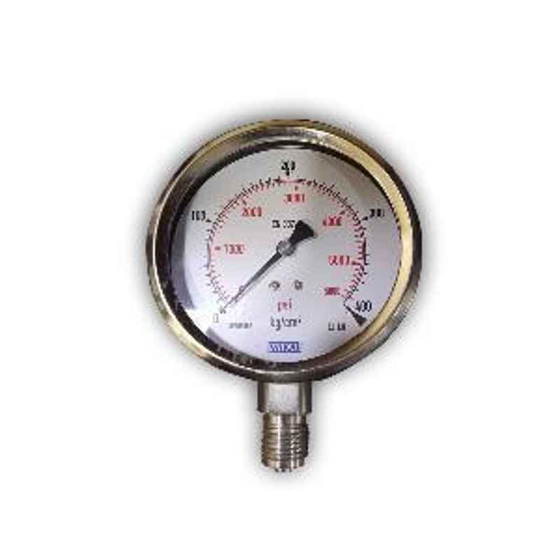 Wika Range 0-160 kg/cm2 with PSI Bottom Entry Bourdon Tube Pressure Gauge 232-53-100-BTM-160 KG
