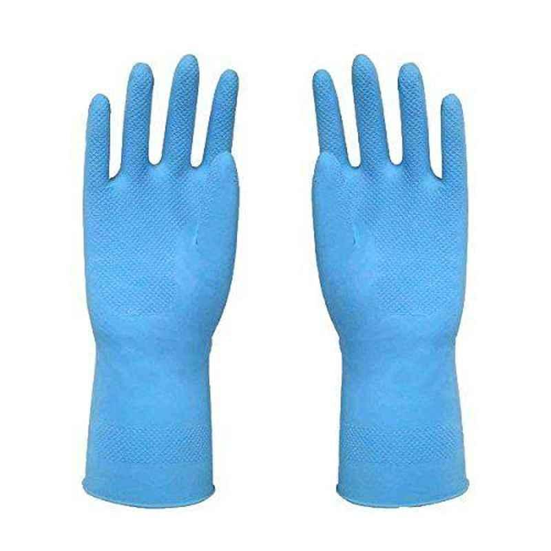 Hand Care Blue Rubber Safety Hand Gloves (Pack of 5)