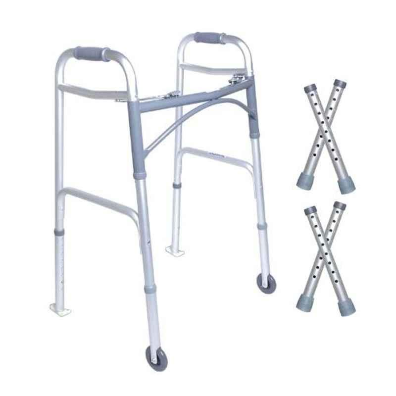 KosmoCare 30.5 37.5 inch Deluxe Folding Walker with Carpet Gliders, RX214WC
