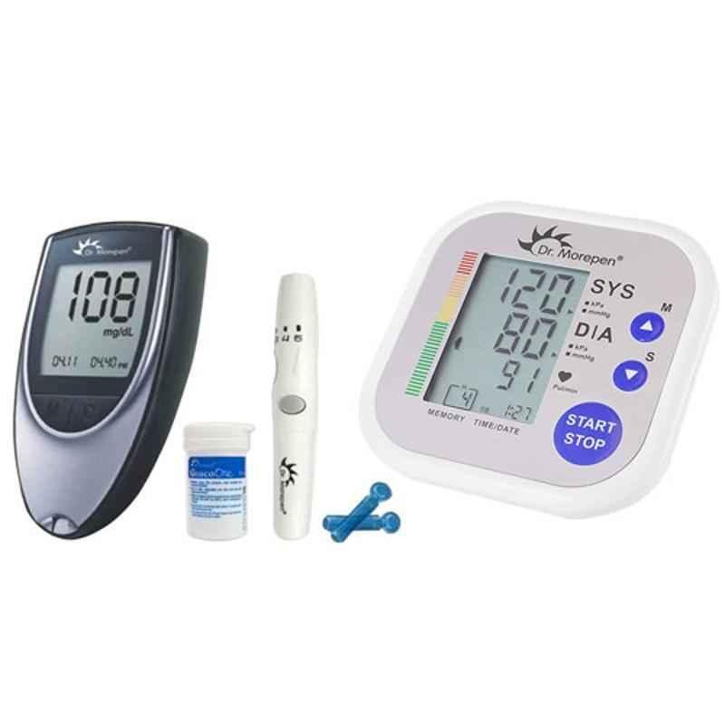 Dr. Morepen BP-02 Blood Pressure Monitor & BG-03 Gluco One Monitor Kit with 25 Test Strips Combo