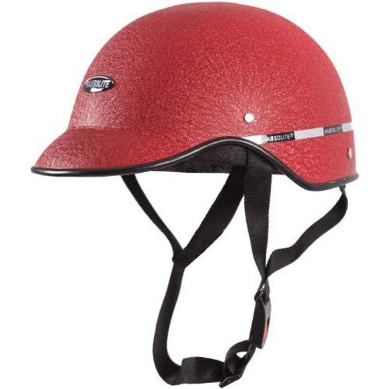Habsolite HB-MWR Mini Wrinkle Red Safety Helmet With Quick Release Strap, Size: Free Size