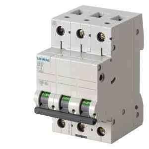 Siemens Betagard 20A Three Pole C Curve MCB, 5SL63207RC, Breaking Capacity: 7.5 kA