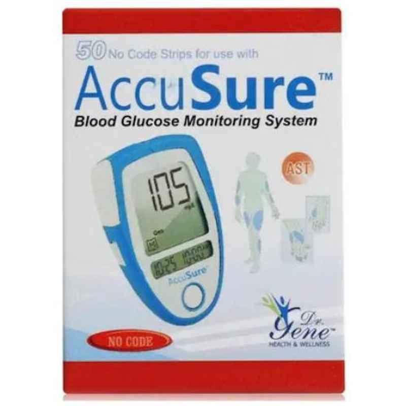 AccuSure Blue Glucometer 50 Pcs Test Strips