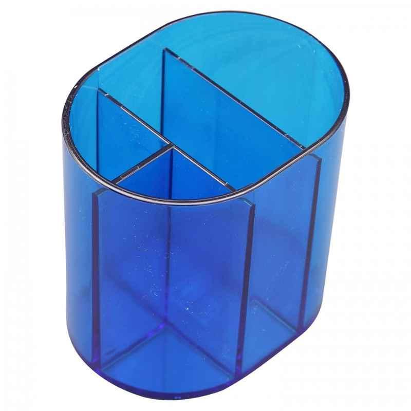 Solo Transparent Blue 4 Compartments Multipen Holder, DS 101 (Pack of 10)