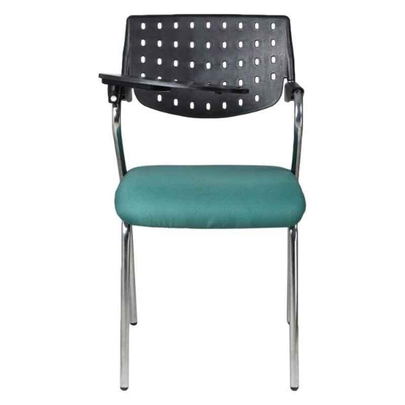 Caddy Metal & Plastic Black & Green Chair with Writing Pad Handle, RSC-711 (Pack of 2)