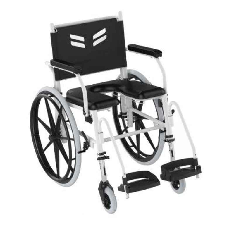 Frido Prime 42.5x27x34.8 inch White Fully Waterproof & Rustproof Self Propelled Shower Commode Wheelchair, FPS005