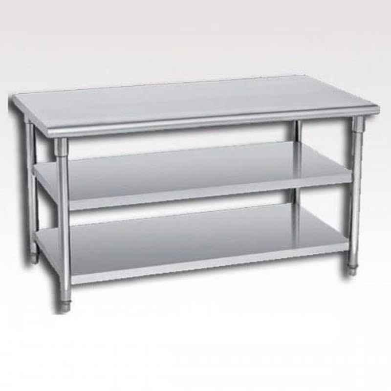 Silver Mirror Finish ss work table with 2 under shelf, Stainless Steel, Size: Custom