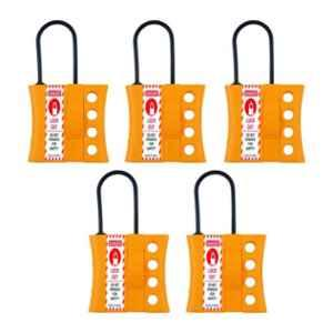 India Loto ILP041-5 4-7.5mm Yellow Non Conductive Slider Lockout Hasp (Pack of 5)