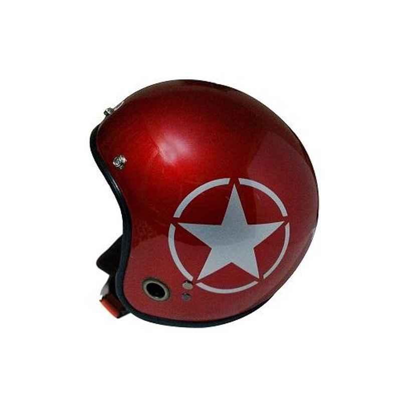 Habsolite HB-ESR Ecco Star Open Face Red Helmet With Detachable Cap & Adjustable Strap, Size: Medium