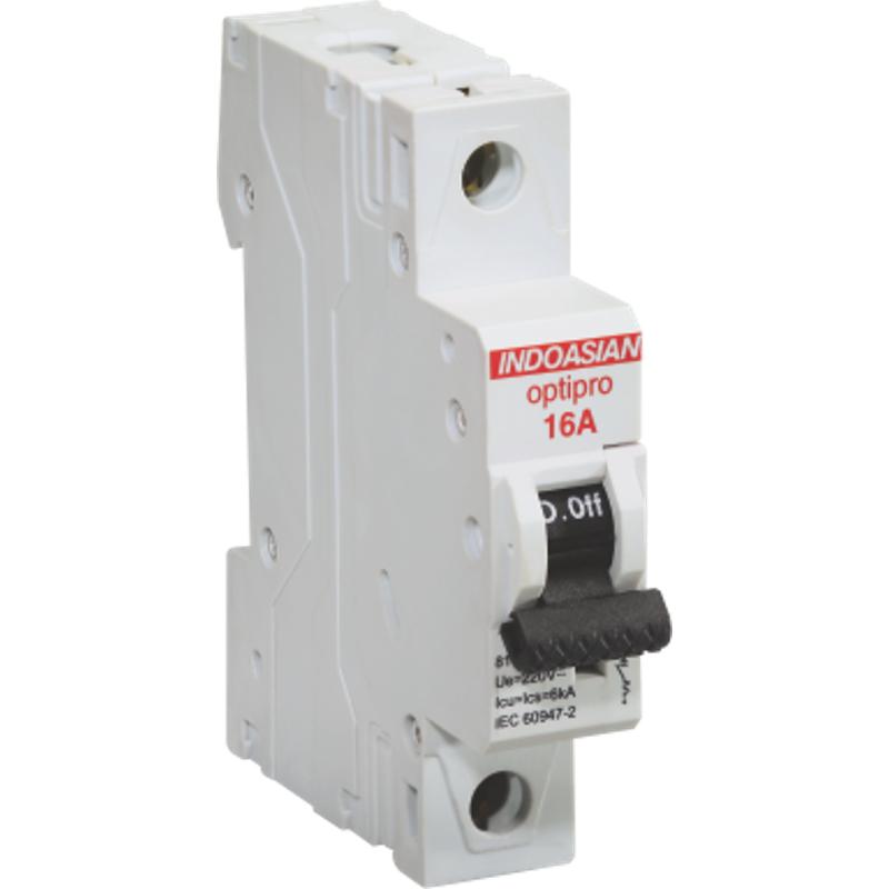 Indoasian Optipro 16A 1 Pole DC Circuit Breaker, 811412, Breaking Capacity: 6 kA