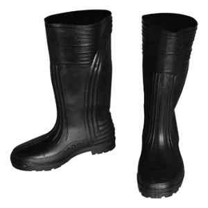 Saraf GB1 PVC Black Waterproof Long Safety Gumboots, Size: 10