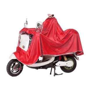 AllExtreme EX668RR Red Nylon PVC Hooded Full Body Waterproof Rain Coat