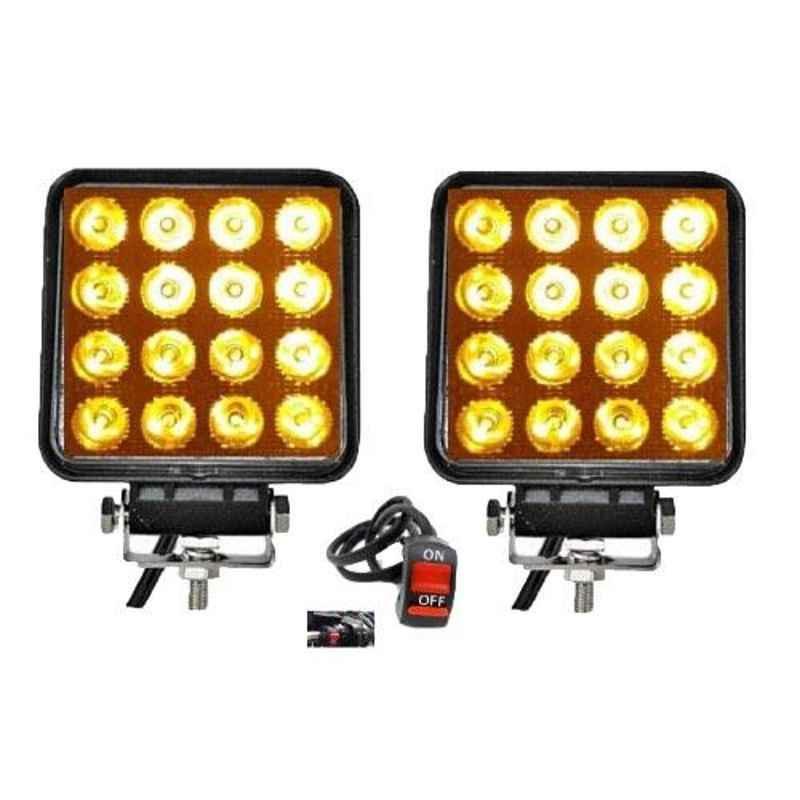 Love4ride 2 Pcs 48W Yellow Fog Light Set with On/Off Switch for Bikes