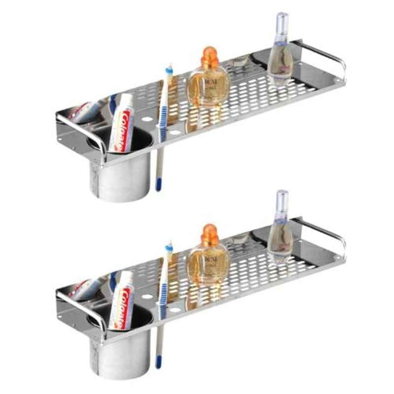 Drizzle 2 Pcs 16 inch Stainless Steel Silver Shelves Set with Tumbler Holder, ASHELFHODSTEEL2