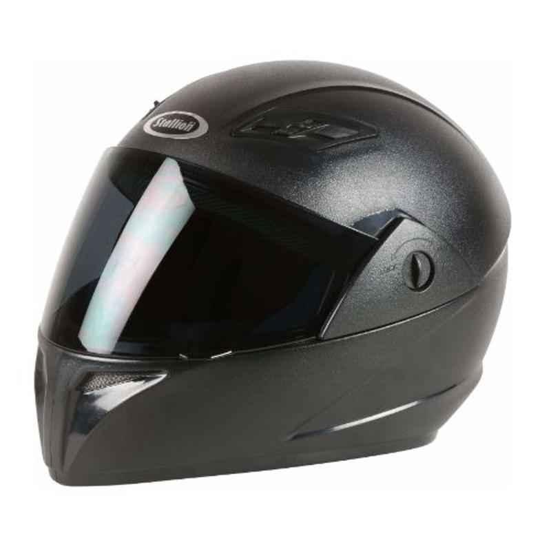 Stallion BLK Vento Plus Black Full Face Bike Helmet, Size: M