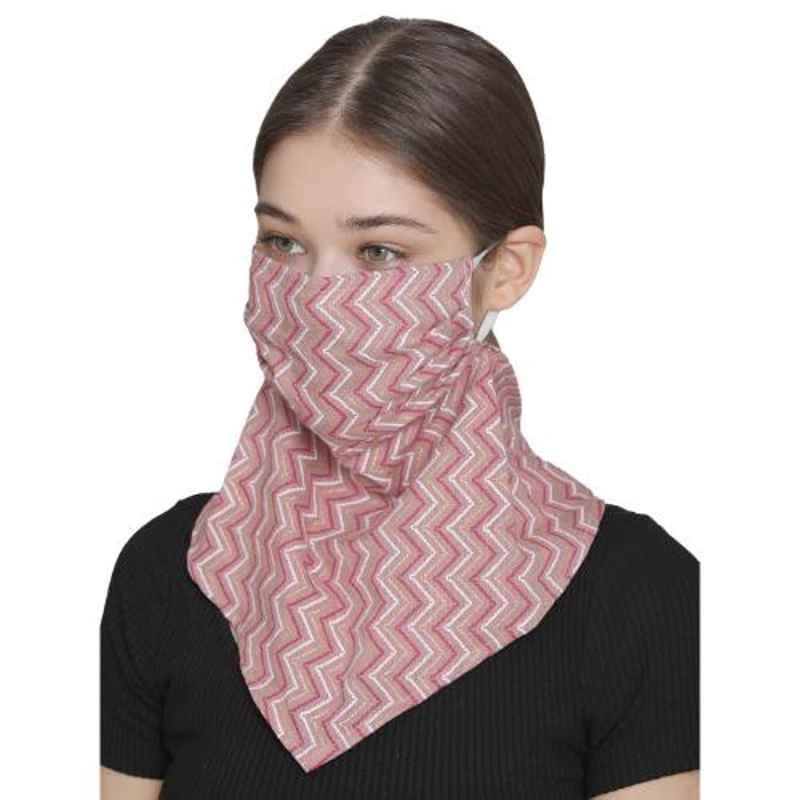 Clovia MASK35P22 2 Ply Washable Zig Zag Printed Scarf Fit Duster Pink Face Mask
