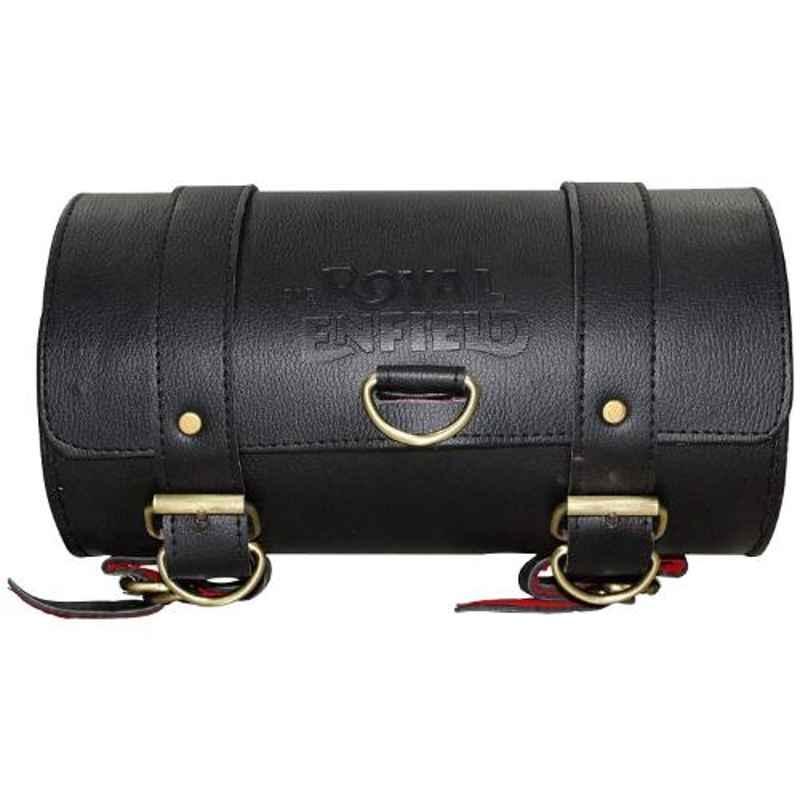 AllExtreme EXRSBBM Black Medium Backseat Round Leatherette Saddle Bag