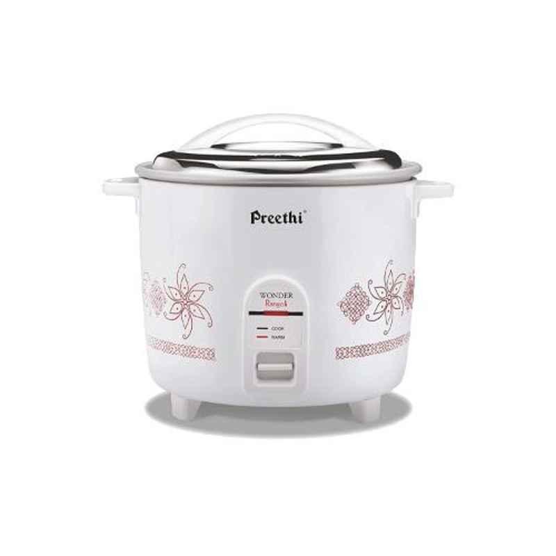 Preethi Wonder Rangoli Double Pan 2.2L White Electric Rice Cooker, RC321