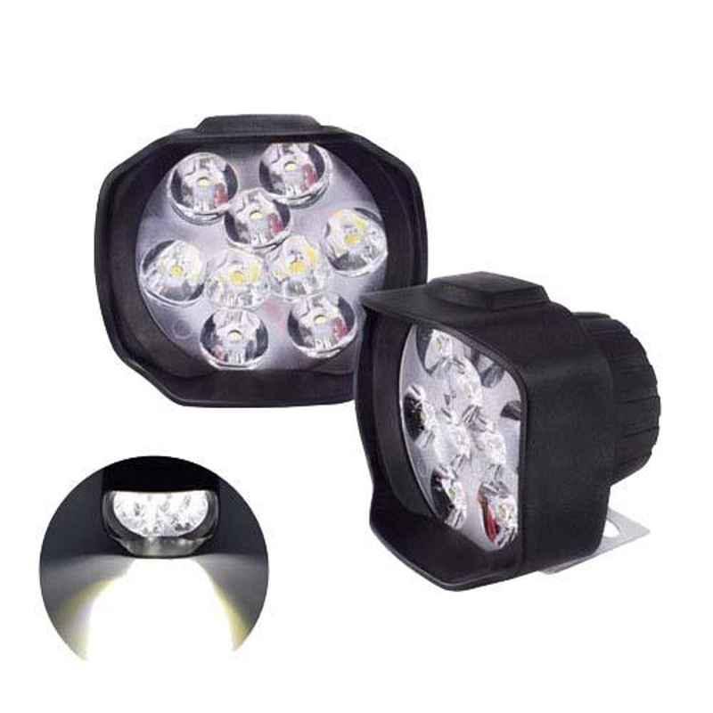 AllExtreme EX9FLW2 15W Shilan 9 LED White Heavy Duty Spot Beam Fog Light Pod Driving Work Lamp Set