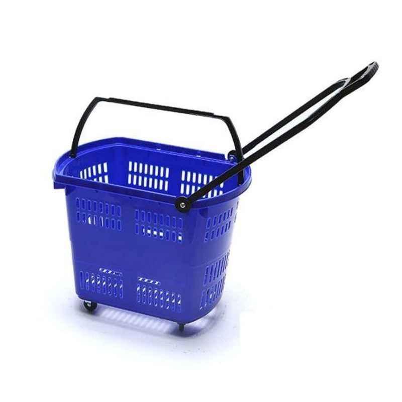 Bigapple 30L Plastic Blue Shopping Basket with 4 Small Wheels, BA-BASKET30L-BLUE