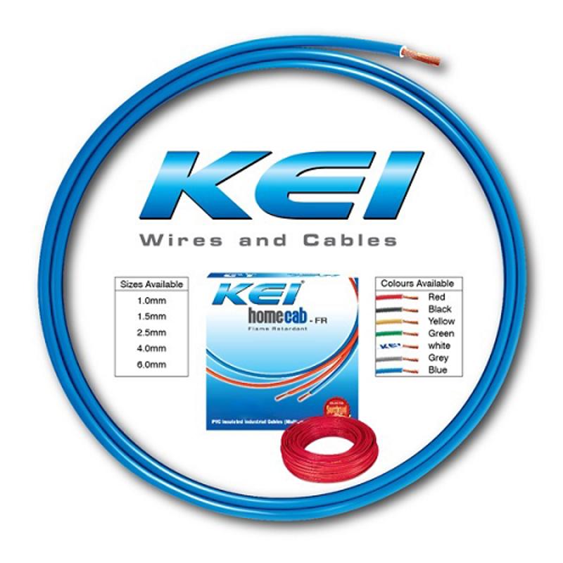 KEI 16 Sqmm Single Core Homecab FR Blue Copper Unsheathed Flexible Cable, Length: 90 m