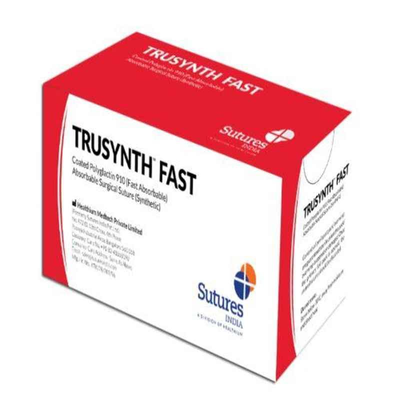 Trusynth Fast 12 Foils 4-0 USP 16mm 3/8 Circle Reverse Cutting Cirkum Synthetic Absorbable Surgical Suture Box, TS 2718 F