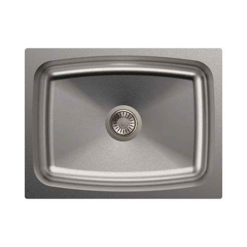 Carysil Elegance Single Bowl Stainless Steel Matt Finish Kitchen Sink, Size: 24x18x9 inch