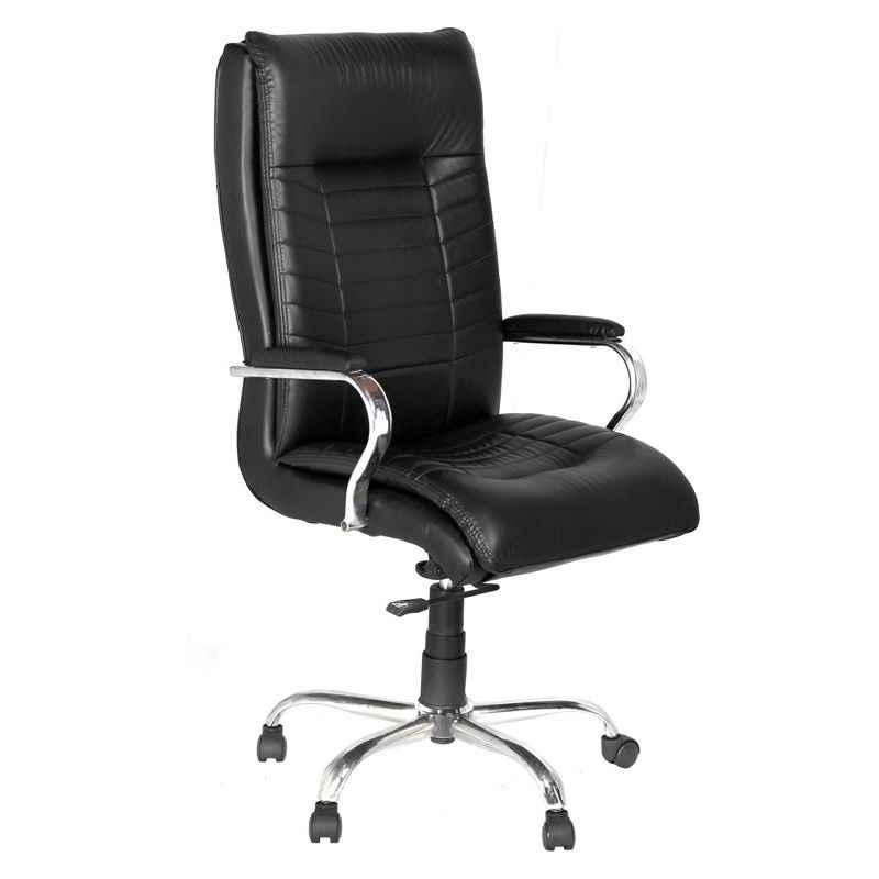 High Living Saturn Leatherette High Back Black Office Chair