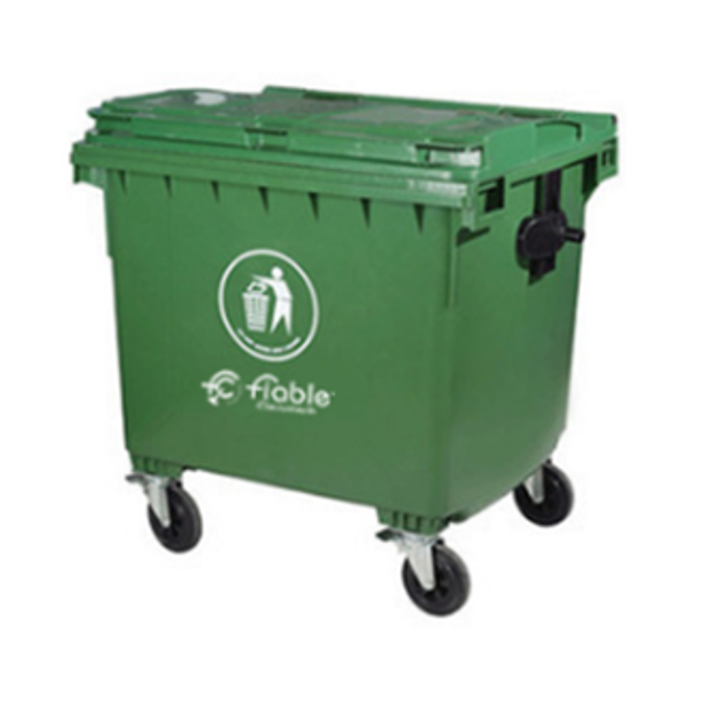 Fiable 1100L HDPE Green Dustbin with 4 Wheels, FDB 1100