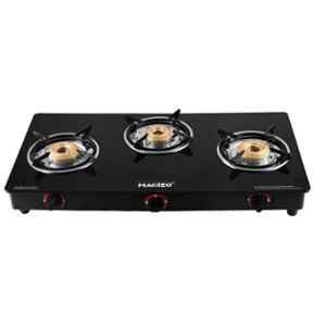 Macizo Preto Plus 3 Burner Black Manual Ignition Glass Gas Stove with 1 Year Warranty