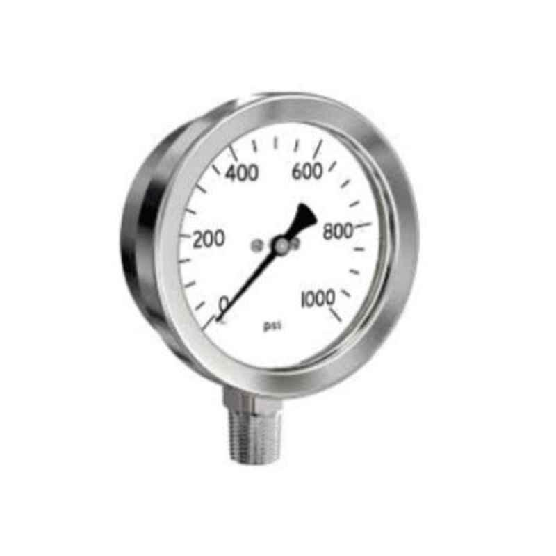 SFI 0-1000psi BSP & NPT Stainless Steel Case & Brass Part BCPM Pneumatic Pressure Guage, Dial Size: 4 inch, Thread Size: 3/8 inch