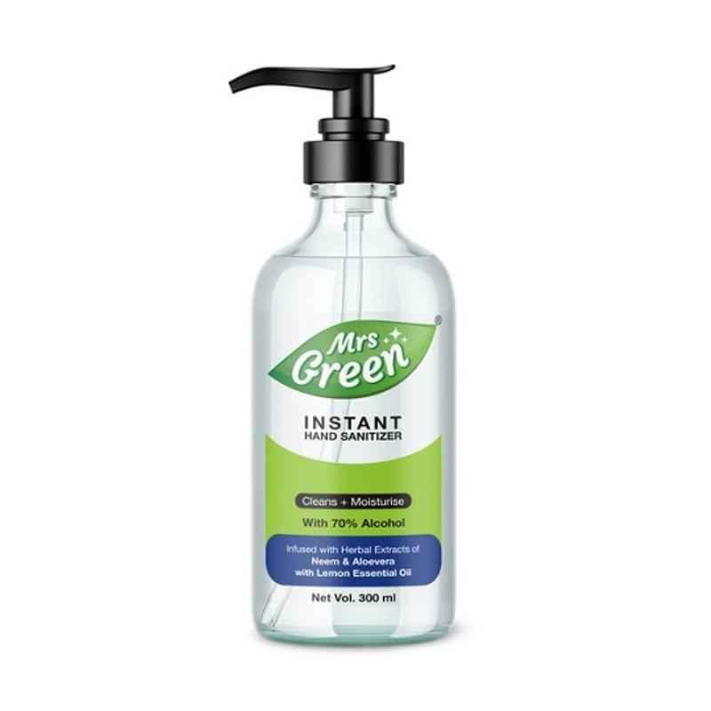 Mrs Green 300ml 70% Alcohol Based Instant Hand Sanitizer, HS300 (Pack of 10)