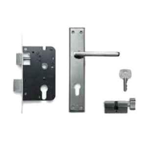 Godrej Satin Steel Zinc Alloy Door Handle Set with Lock Body & Cylinder Set, 1CK