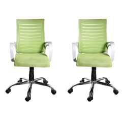 Regent Boom Net & Metal White & Green Chair with Modle Handle (Pack of 2)