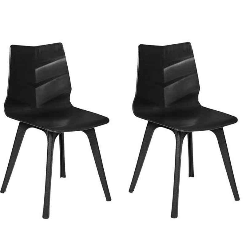 Regent Diamond Shell Plastic Black Chair (Pack of 2)