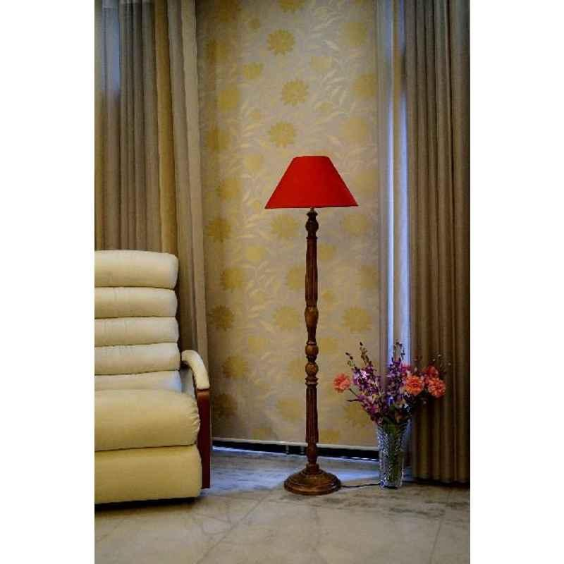 Tucasa Mango Wood Brown Floor Lamp with Red Conical Polycotton Shade, WF-8
