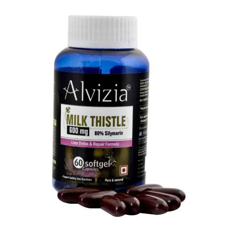 Alvizia 60 Pcs Softgel Capsules 600mg Milk Thistle with 80 Percent Silymarin for Liver Detox Bottle