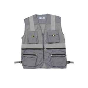 Club Twenty One Workwear Double Extra Large Grey Polyester Vest Safety Jacket with Certified Reflective Extra Tape