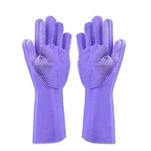 Alciono Magic 14 inch Large Silicone Latex Cleaning Gloves for Wash Dish, Kitchen & Bathroom (2 Pairs: 2 Left + 2 Right) (Pack of 2)
