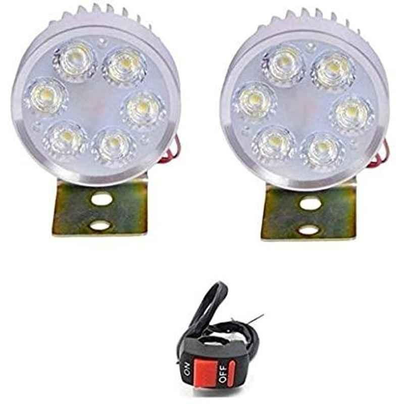 AOW LED Small Round Auxiliary Bike Fog Lamp Light Assembly White (Set of 2) with Switch for Yamaha Alba 106 ES
